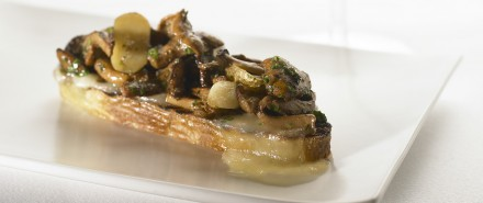 Mixed Mushroom Bruschetta with Fingerling Potatoes and Fontina Cheese