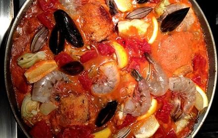 Seafood and Chorizo Paella with Saffron and English Peas