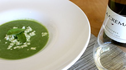 Chilled Fennel Soup with Sorrel and Feta Cheese