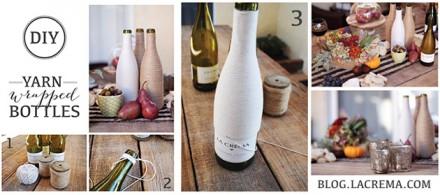 DIY Yarn Wrapped Wine Bottles