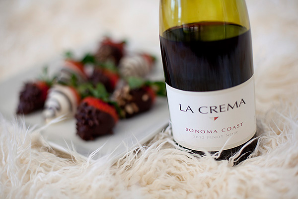Chocolate-dipped strawberries and La Crema Pinot Noir.