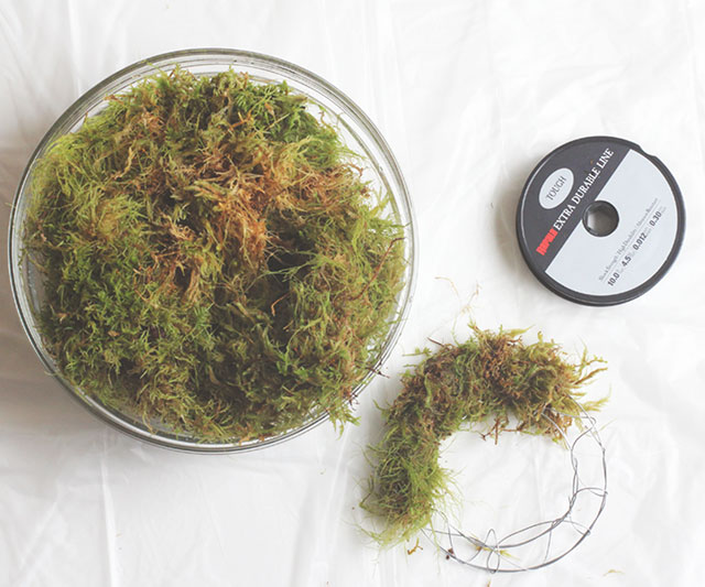 Tightly form the moss around your wreath form