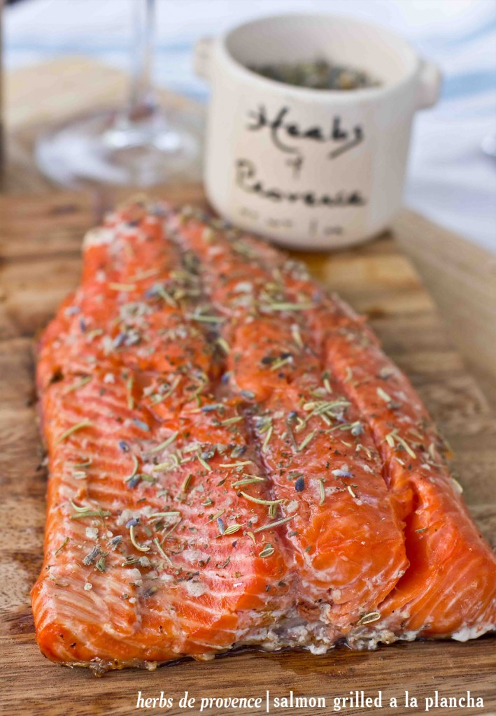 Delicious dinner for dad- salmon grilled a la plancha with homemade herbs de provence