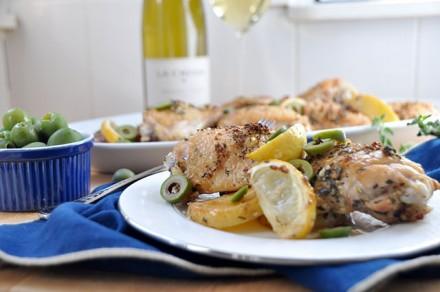 Chicken Thighs with Potato, Lemon & Castelvetrano Olives