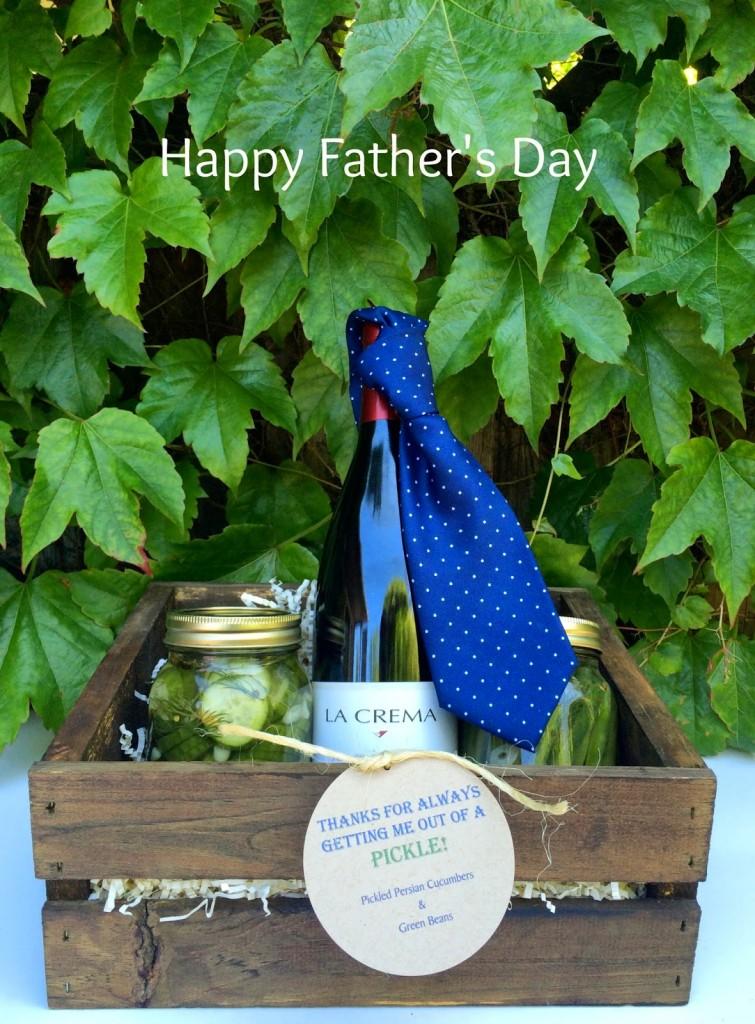 Great gift box idea for dad: Homemade pickled veggies and La Crema wine.