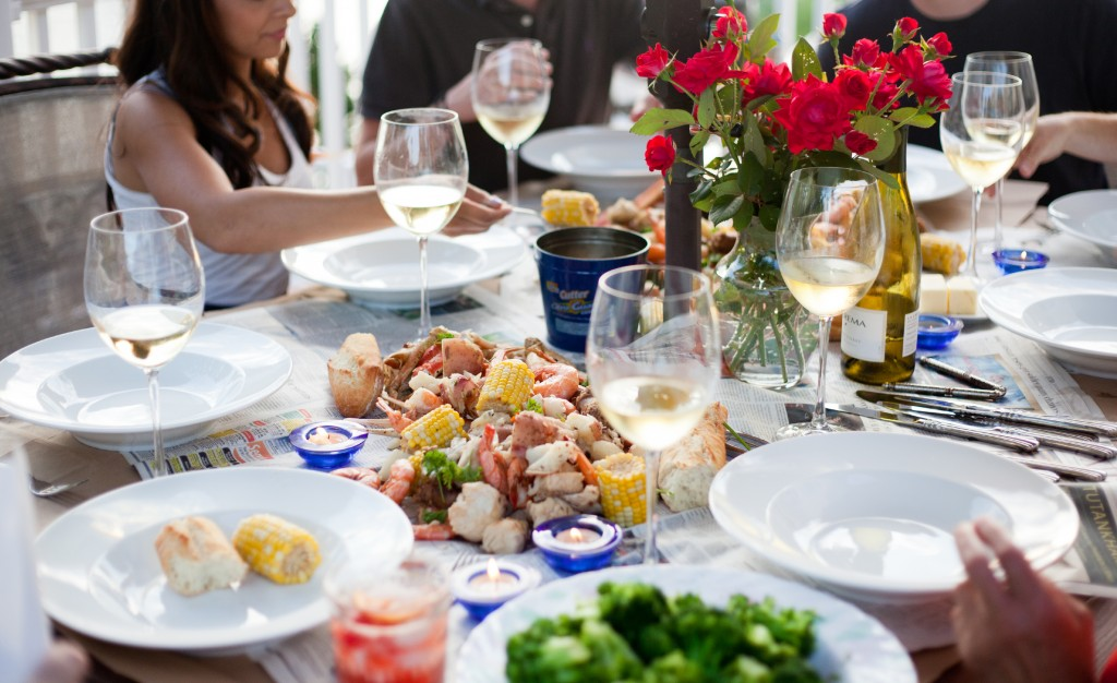 Good friends, an amazing spread of food and great wine. Hello, summer!