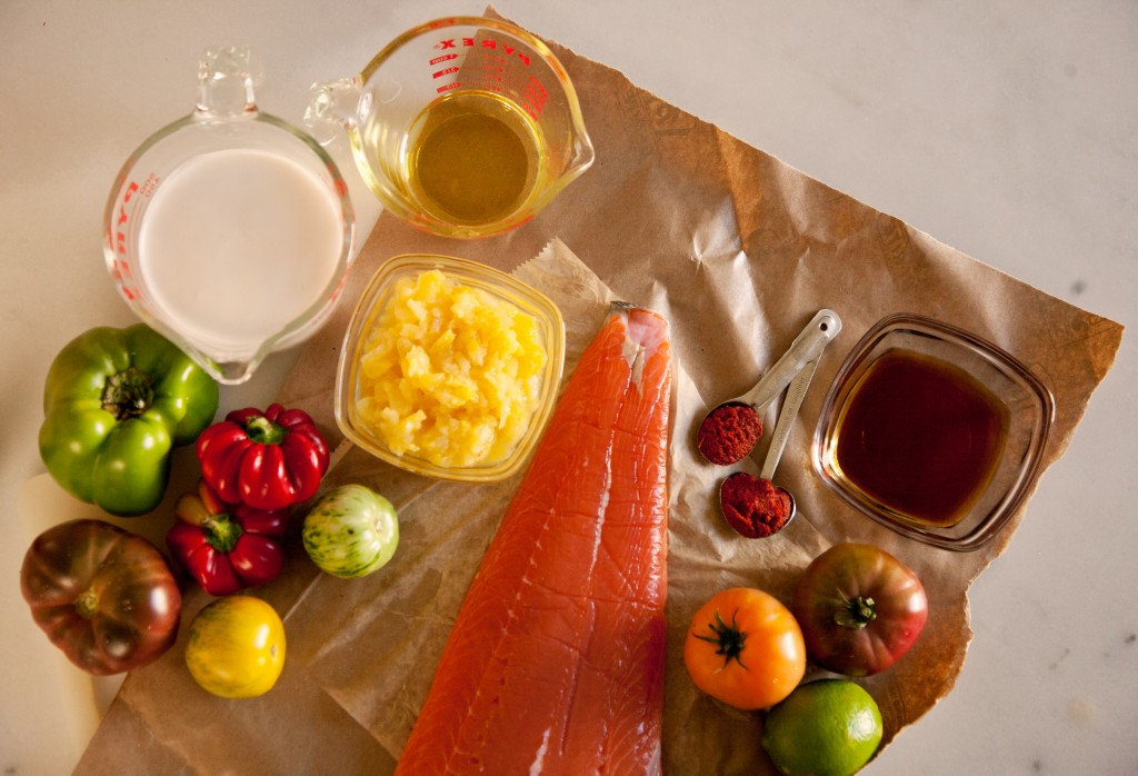 Ingredients for Salmon with Tomato, Bell Pepper, Pineapple Curry