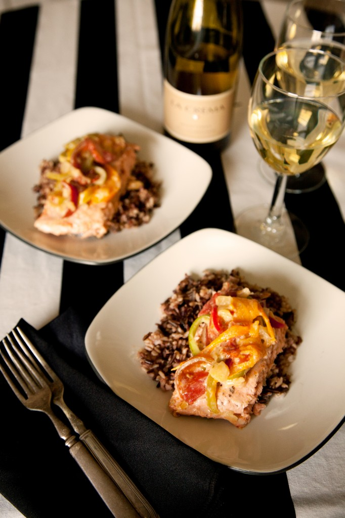 Salmon with Tomato Bell Pepper Pineapple Curry Paired with La Crema Monterrey Chardonnay Plated for Two