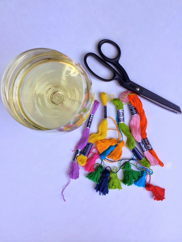 DIY wine charms: There is nothing more charming for a Summer Party than a fun, colorful way to distinguish your guests' glass of wine.