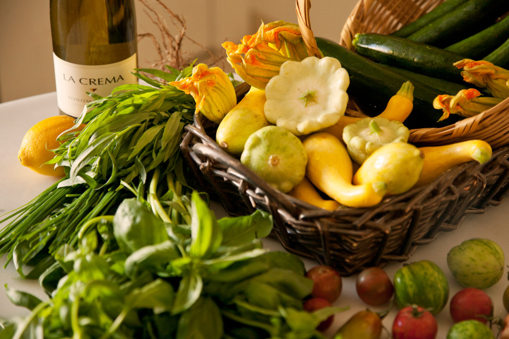 To keep summer around a little longer on your dinner table, when choosing your summer squash and tomatoes, select ingredients with warm hues, yellow, orange, red, and some greens.