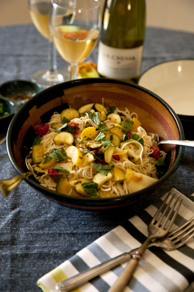 Top 14 Summer Recipes Roundup: Angel Hair Pasta with Summer Squash and Cherry Tomatoes