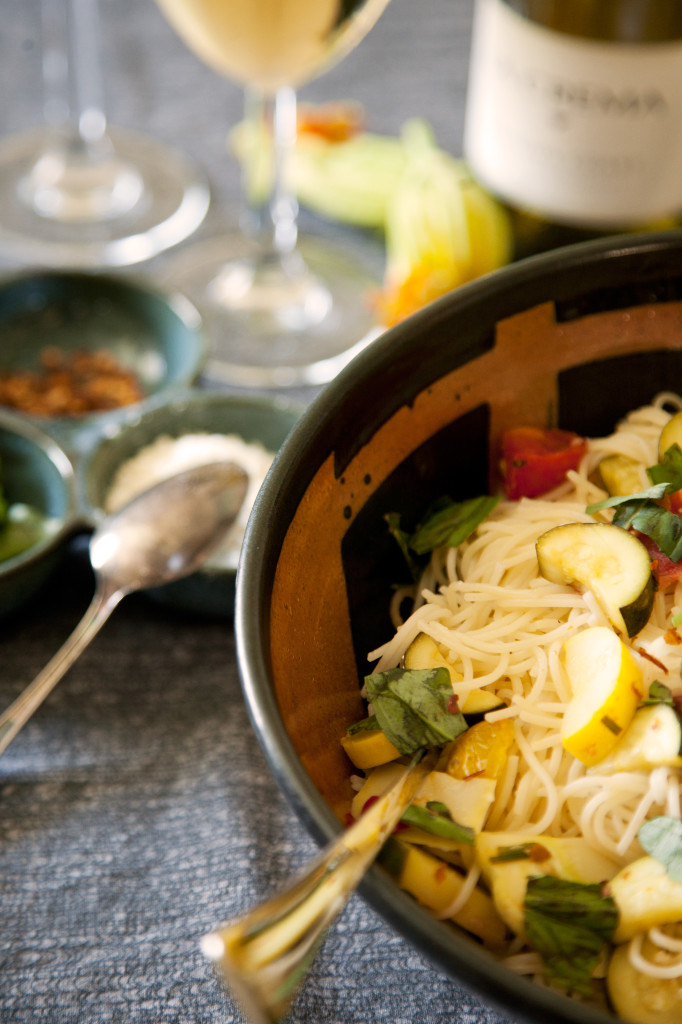 Angel Hair Pasta With Summer Squash And Cherry Tomatoes