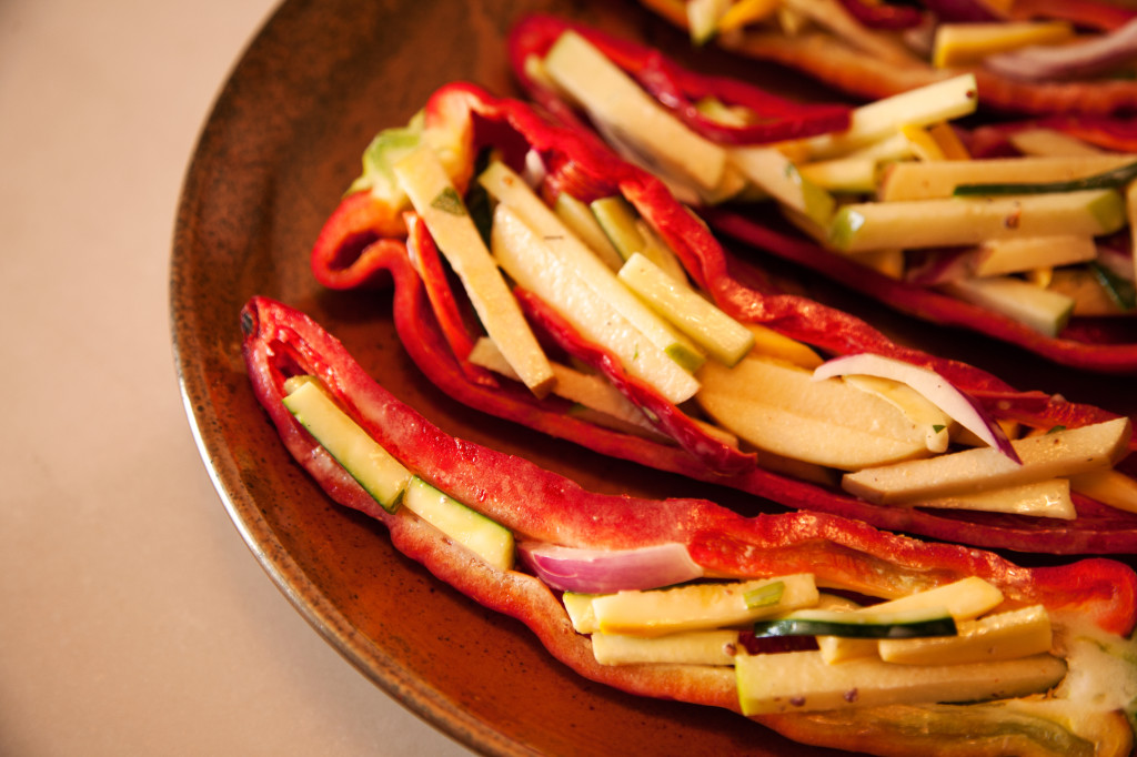 When preparing the sweet peppers, leave stems in tact to give guests a spot to hold.