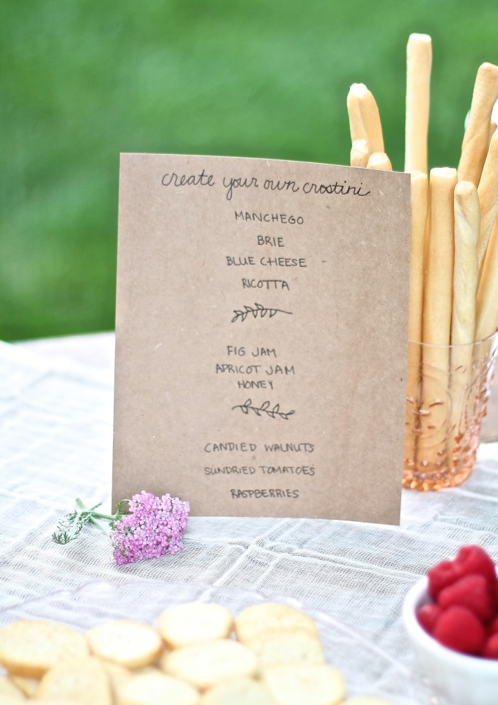 Create your own crostini bar for showers, celebrations & impromptu gatherings