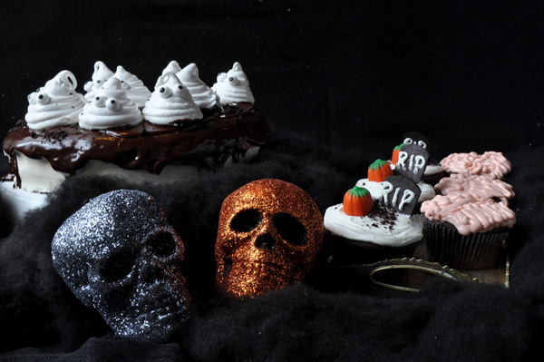 Chocolate Cake with Homemade Marshmallow Ghosts