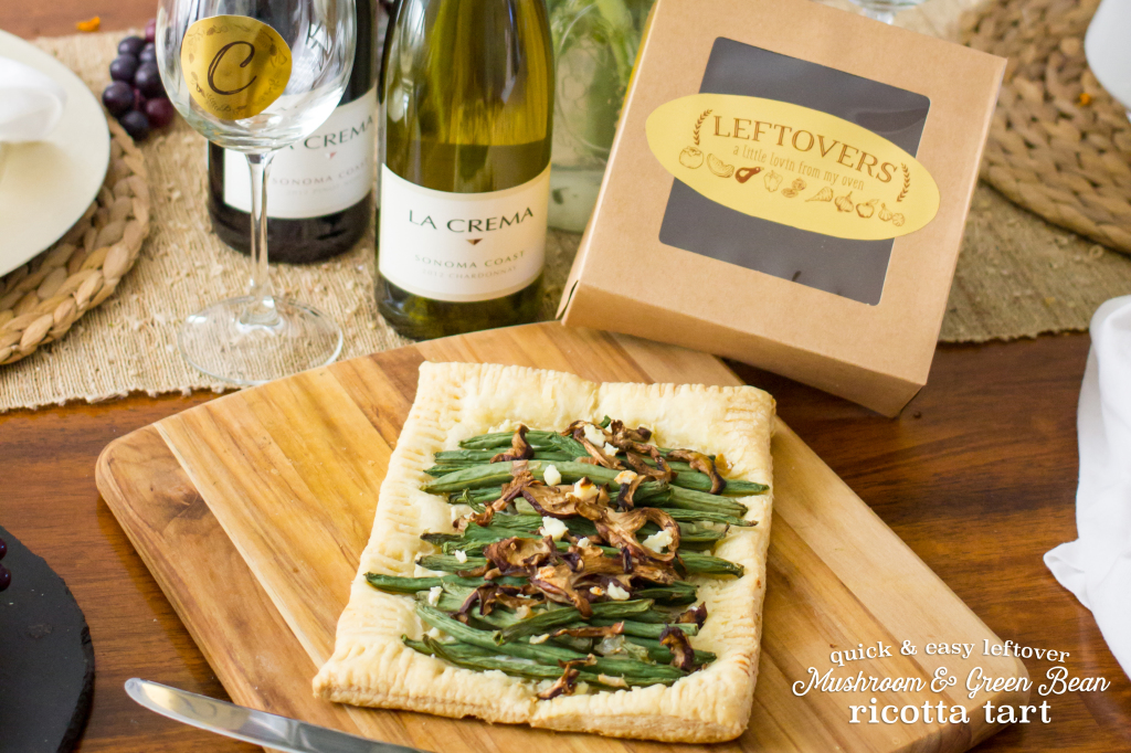 Quick and easy mushroom and green bean ricotta tart- perfet for leftovers!
