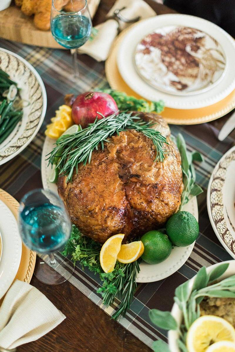 The pièce de résistance: A perfectly cooked and presented turkey.