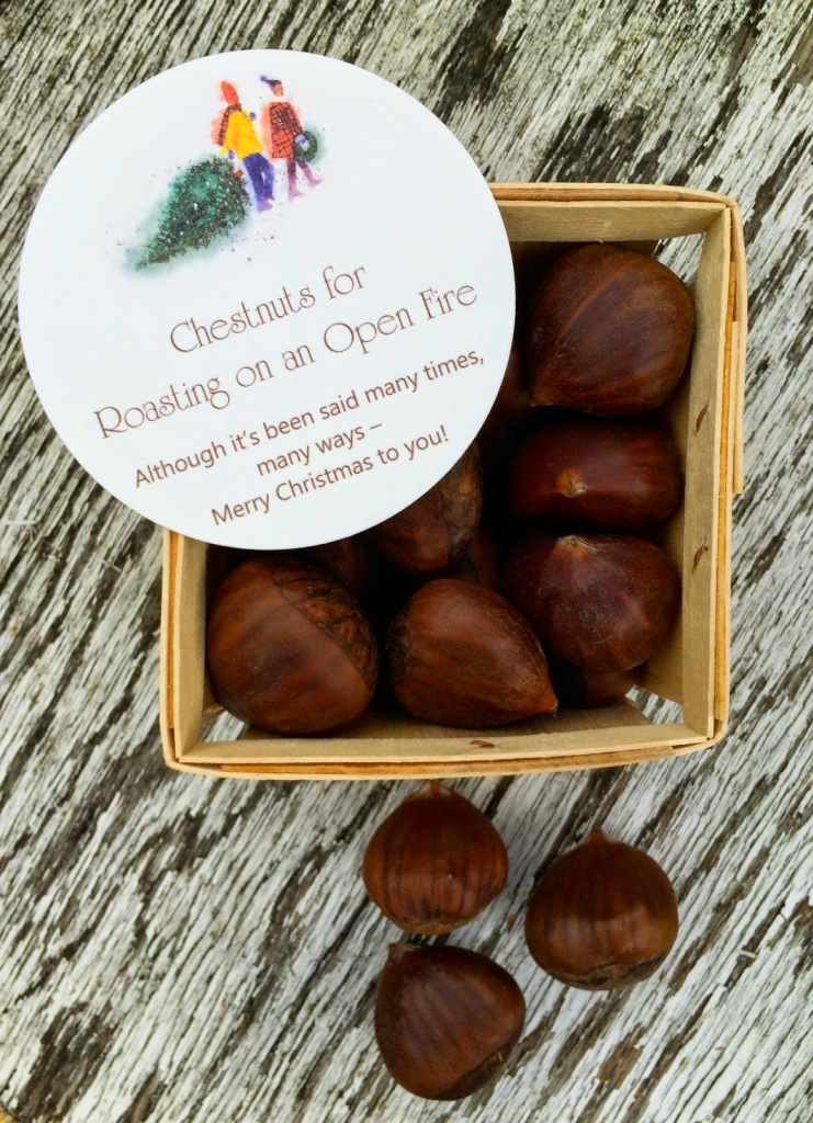 Chestnuts roasted on an open fire. A fun and festive DIY gift idea.