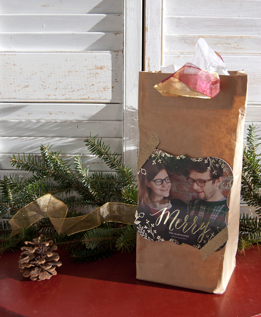 Make your own perfectly sized paper bag. Customize it with ribbon to match your bottle of wine and attach this year's Christmas card so your host is sure to know whom it's from.
