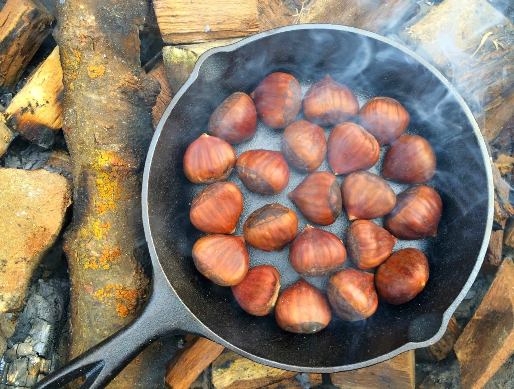 A cast iron skillet is ideal for chestnut roasting.
