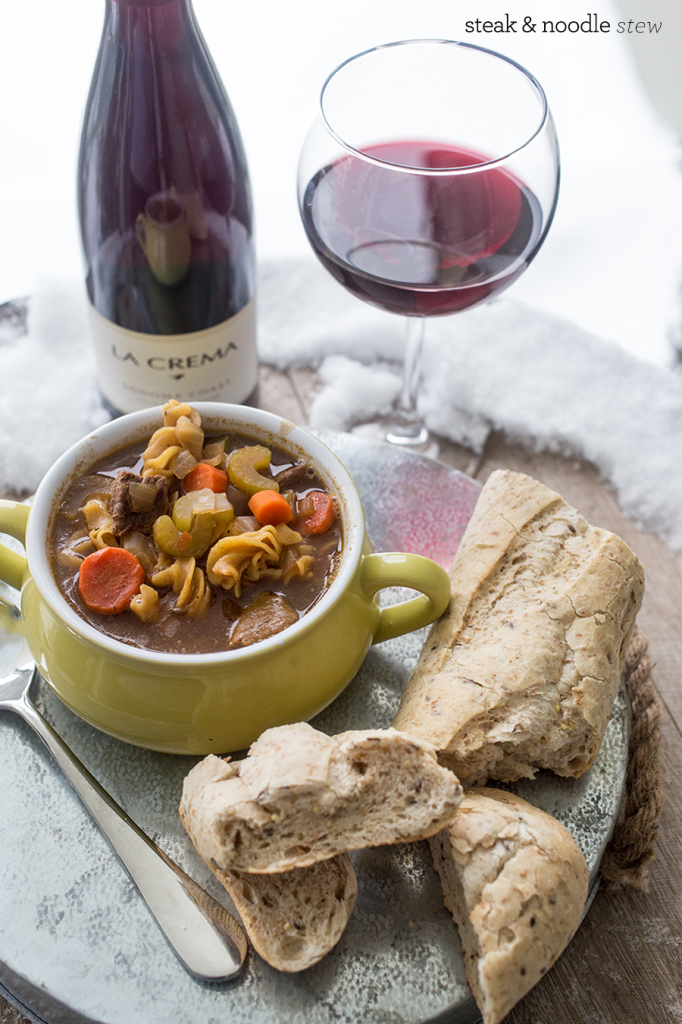 steak and noodle stew with homemade seeded herb baguette