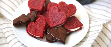 Heart-Shaped Red Velvet Sandwich Cookies