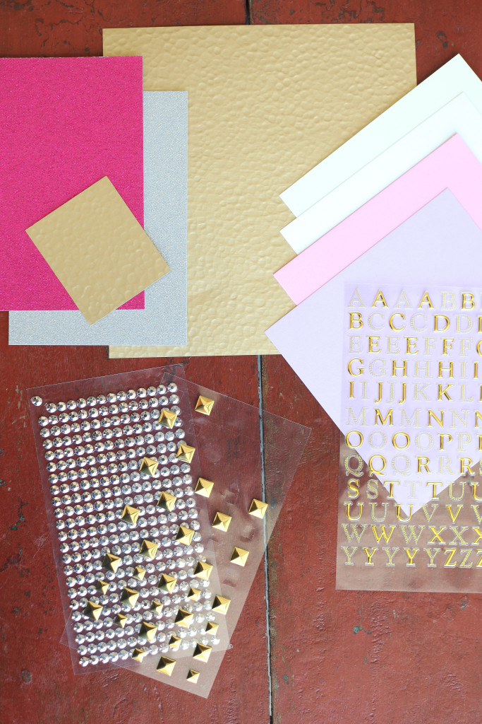 Assorted cardstock and embellishments for making your own Dip-Dyed Valentines