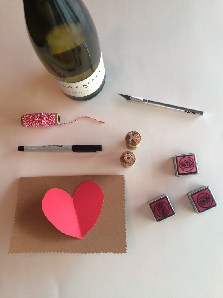 Materials needed for this DIY Valentine's Card project.