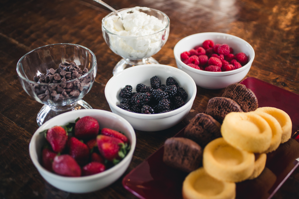 A selection of berries and toppings for an over-the-top romantic dessert!