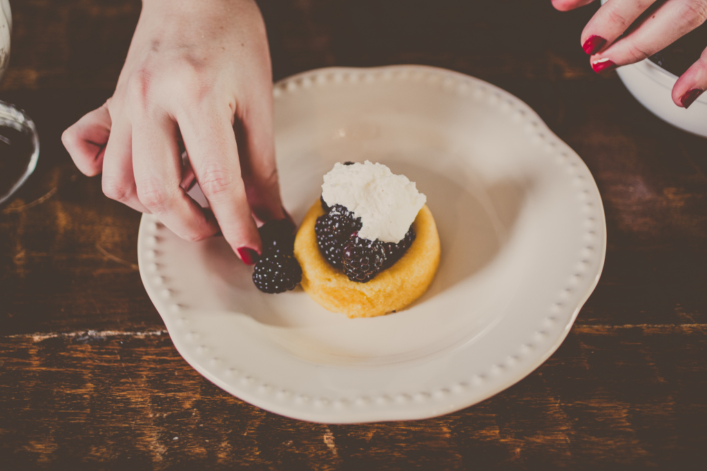 Fresh blackberries with cream in a poundcake shell. Simple, yes. Delicious? Definitely!