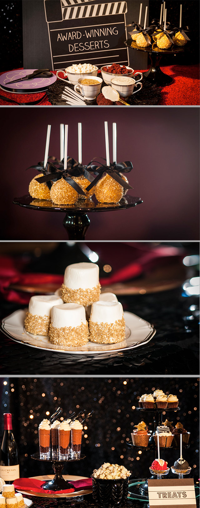 Looking for a dessert idea worthy of a Hollywood award show? From Golden Cake Pops to blinged-up popcorn we have the ultimate guide to creating a dessert bar the Academy would be proud of.
