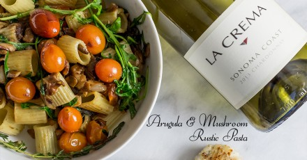 Rustic Vegan Pasta with Arugula and Mushroom