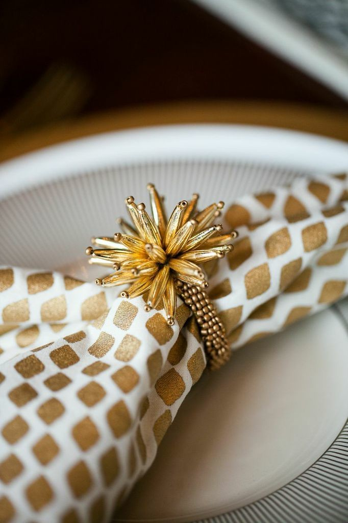 Gold and silver add a modern pop to your place setting.