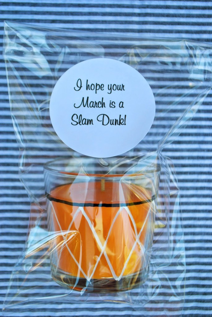 A packaged candle perfect for a basketball party gift