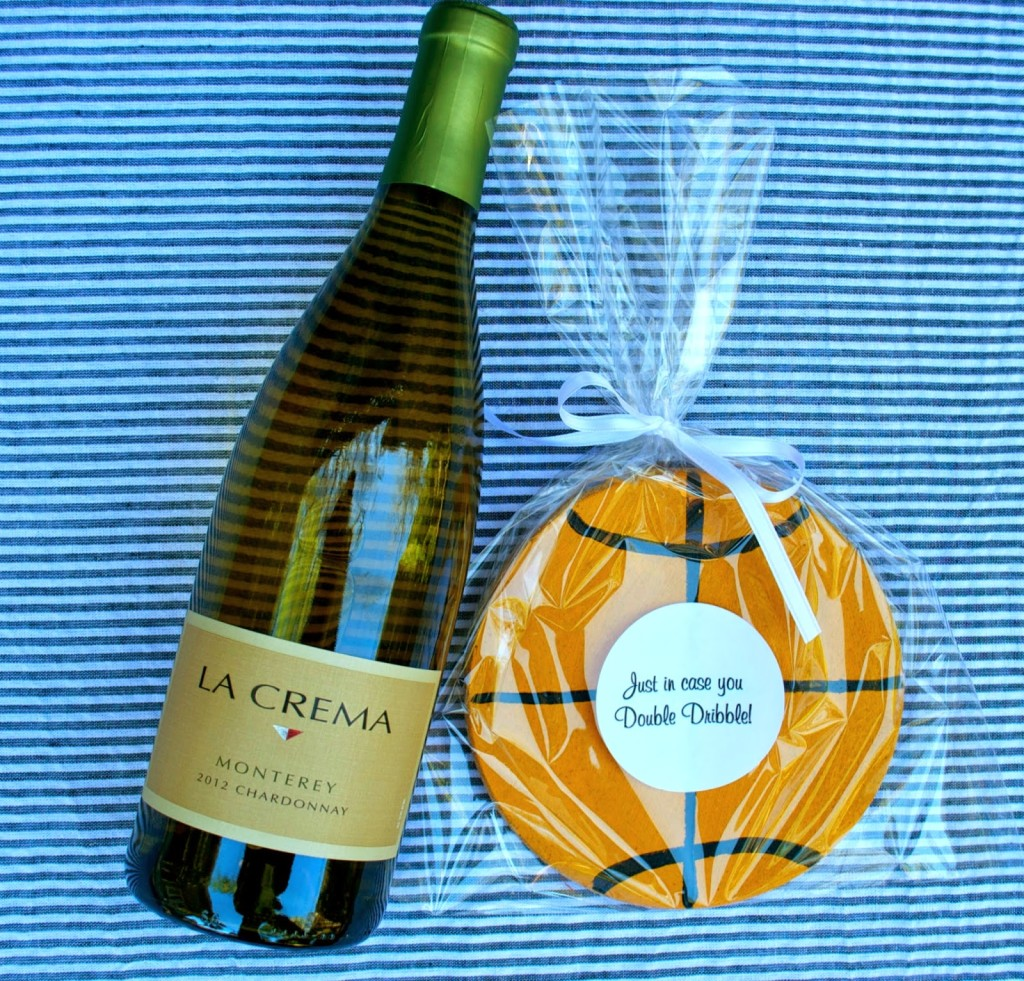 Great hostess gift for a college basketball tournament party. This DIY coaster and a bottle of La Crema Chardonnay