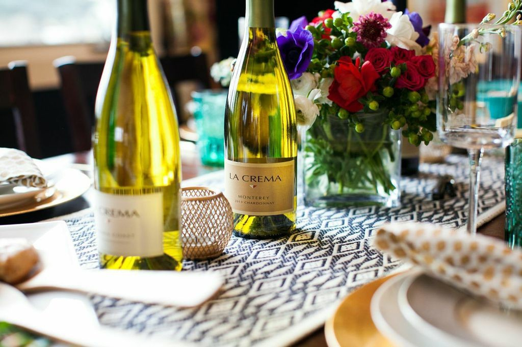 La Crema Chardonnay on a beautifully set table.