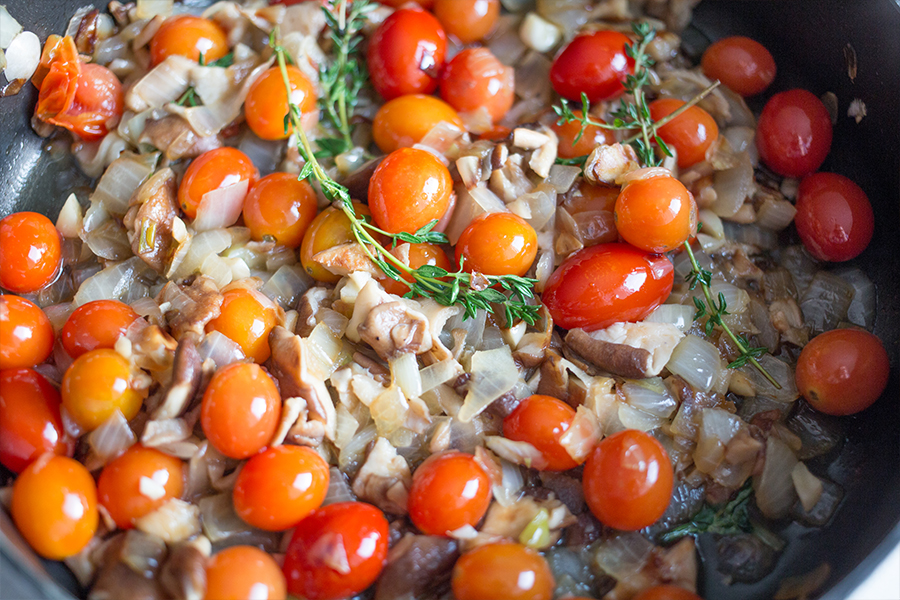 cook tomatoes and onions with white wine