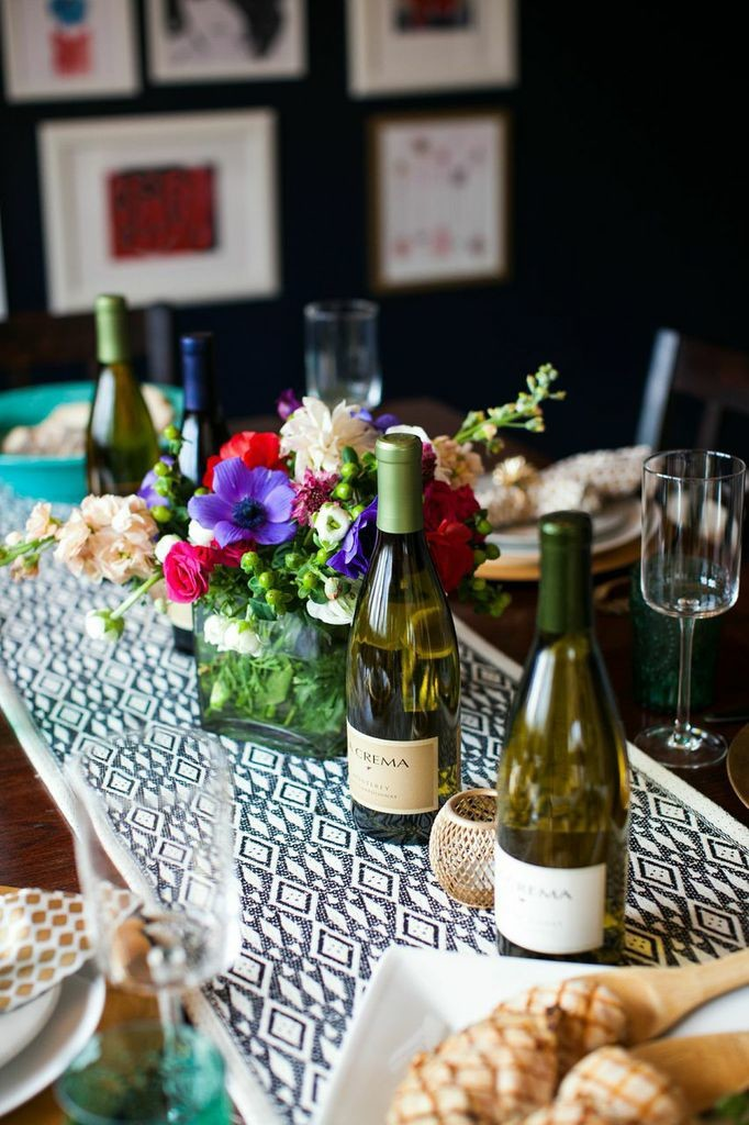 Tablescape with La Crema wine.