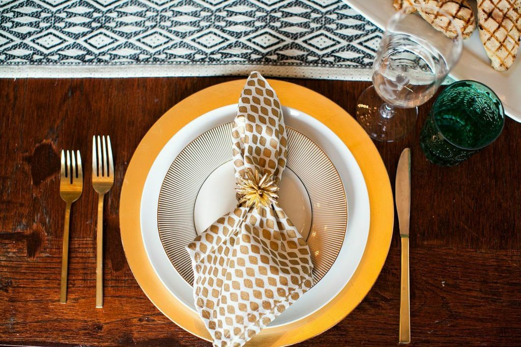 An attractive place setting sets the stage for a dinner party.