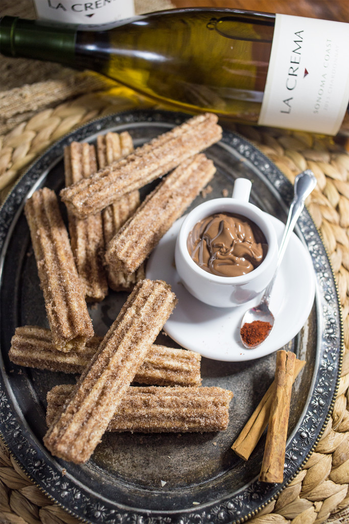 Love this idea for a spicy sweet dessert- chardonnay churros with mexican chocolate ganache!