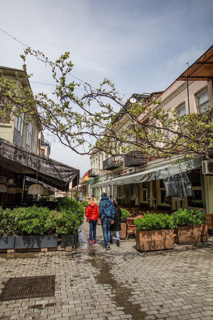 Cafes under a vine-lined street, Tbilisi Old Town