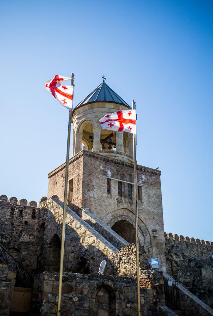Georgian Flag flying outside cathedral, mshketa Georgia