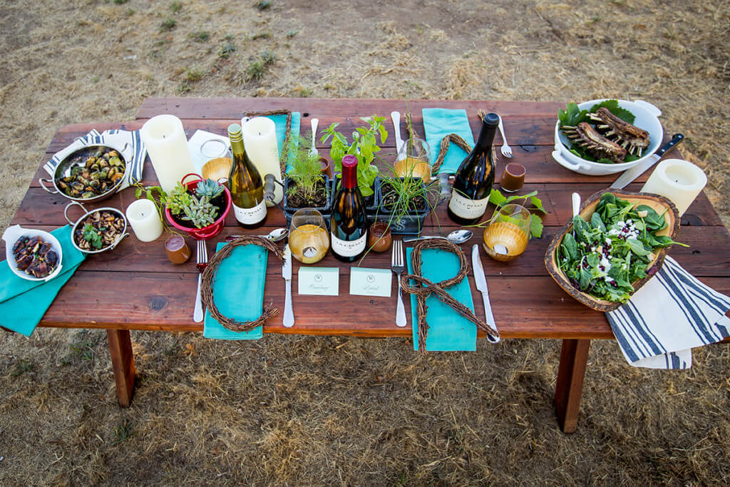 Harvest dinner with rack of lamb