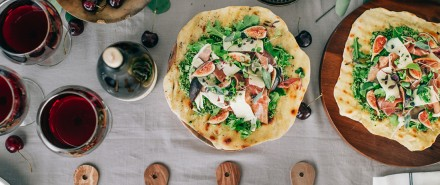 Flatbread with Sage & Arugula Pesto, Figs, and Prosciutto