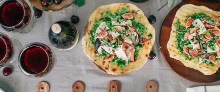Flatbread with Sage & Arugula Pesto, Figs, and Prosciutto