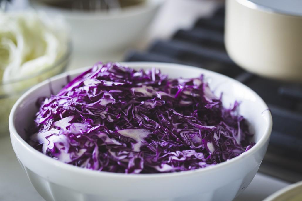 Purple cabbage to accompany a Honey Mustard Glazed Salmon