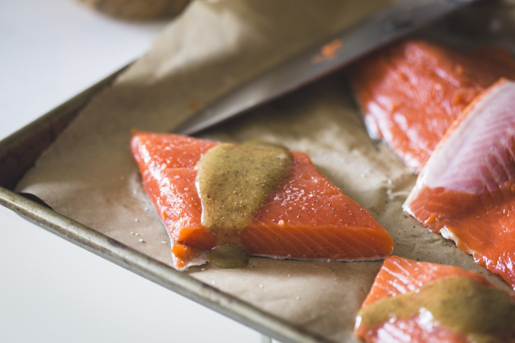 Honey Mustard Glazed Salmon (freshly caught!) with Spring Slaw