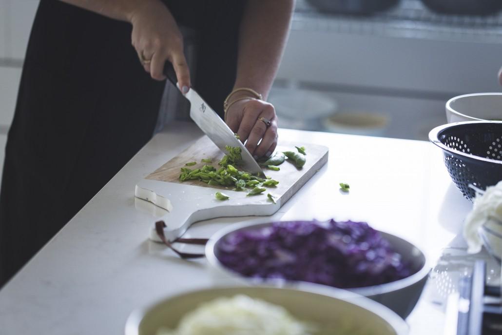 Snow peas cut on the bias to accompany a Honey Mustard Glazed Salmon