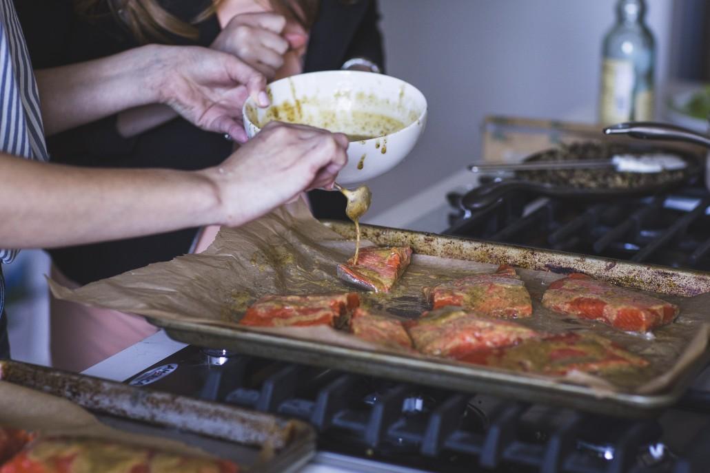 Honey Mustard Glazed Salmon: Glaze the salmon mid-way to retain moisture