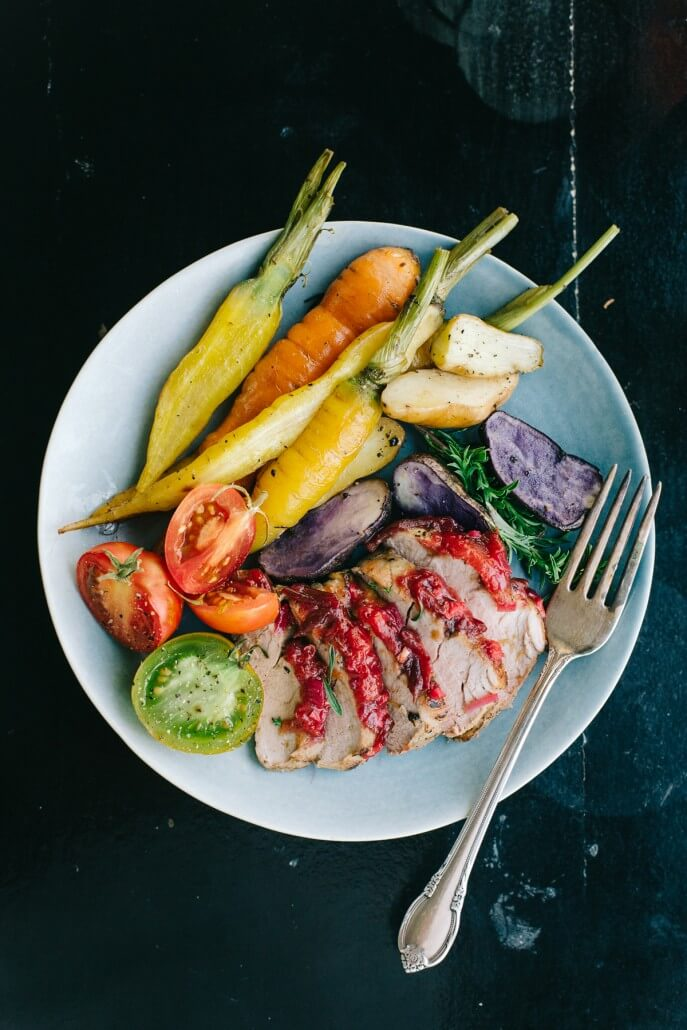 Roasted Pork Loin with Spicy Plum Chutney and Roasted Vegetables